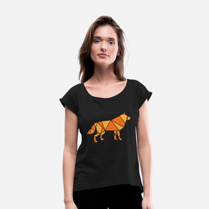Saxony T-Shirts - Wolf - Women's Rolled Sleeve T-Shirt black