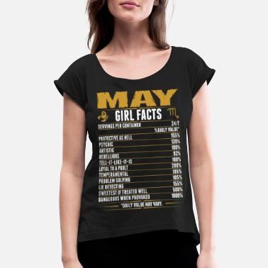 Girl May Scorpio Girl Facts Tshirt - Women's Rolled Sleeve T-Shirt