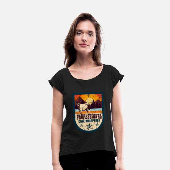 Butcher T-Shirts - Cow farm animal gift - Women's Rolled Sleeve T-Shirt black