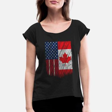 Usa American Canadian Flag Tshirt Thanks Canada USA Friendship - Women's Rolled Sleeve T-Shirt