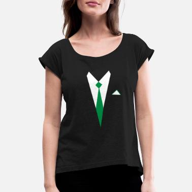 Phil Green White Shirt Green Tie PhiL Green - Women's Roll Cuff T-Shirt