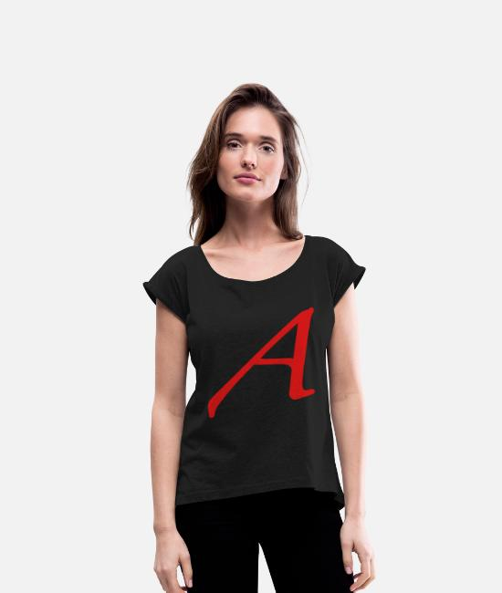 Red T-Shirts - Atheism Scarlet Letter A Symbol - Women's Rolled Sleeve T-Shirt black