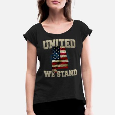 I Love Lithuania Alabama United We Stand Proud Strong Awesome Design Gift US Flag - Women's Roll Cuff T-Shirt