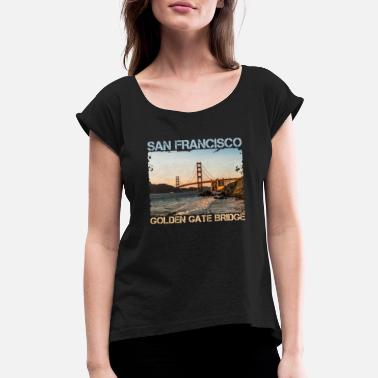 Golden Gate San Francisco - Golden Gate Bridge USA used look - Women's Rolled Sleeve T-Shirt