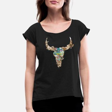 Cow Skull cow skull watercolor - Women's Rolled Sleeve T-Shirt