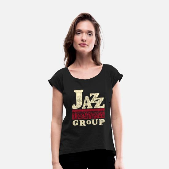 Singer T-Shirts - Jazz - Women's Rolled Sleeve T-Shirt black