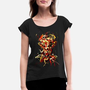 Hardcore Flames Demon - Women's Roll Cuff T-Shirt