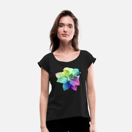 Birthday T-Shirts - rainbow succulent juicy plant botanical nature - Women's Rolled Sleeve T-Shirt black