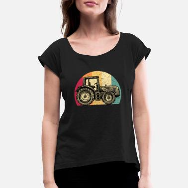 Tractor Farmer Rancher Job Farm Farming Gift Idea - Women's Rolled Sleeve T-Shirt