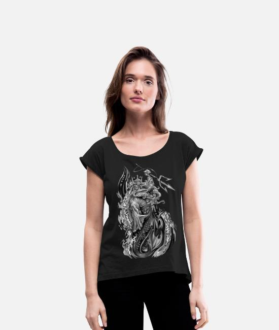 Art T-Shirts - poseidon - Women's Rolled Sleeve T-Shirt black