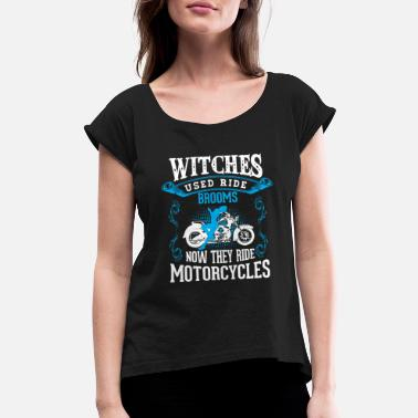 Broom Motorcycle Witch Broom - Women's Rolled Sleeve T-Shirt