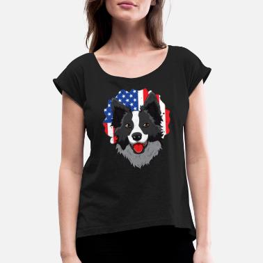 Border Patriot Border Collie USA Flag Pawtriot Stars Stri - Women's Rolled Sleeve T-Shirt