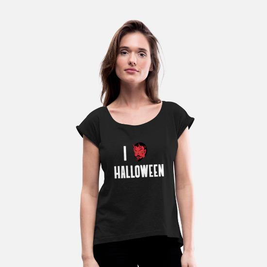Love T-Shirts - I Love Halloween - Women's Rolled Sleeve T-Shirt black