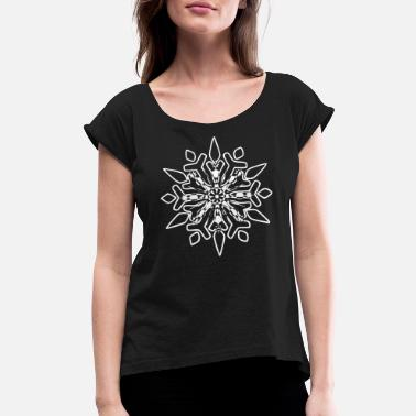 Snow Crystal Snowflakes Winter Snow crystal - Women's Rolled Sleeve T-Shirt