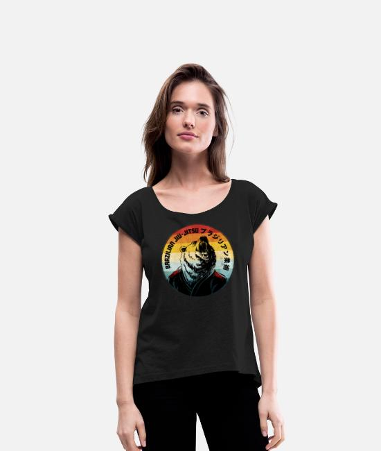 Beard T-Shirts - BJJ Bear - Women's Rolled Sleeve T-Shirt black
