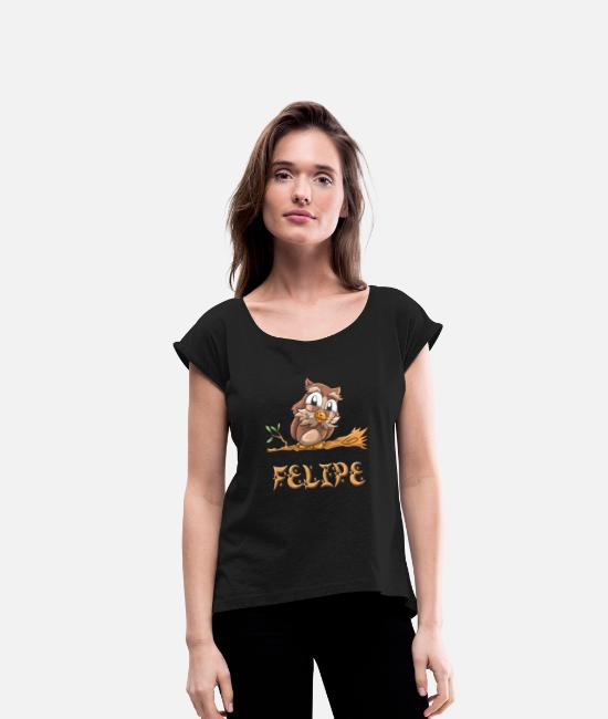 Felipe Birth T-Shirts - Felipe Owl - Women's Rolled Sleeve T-Shirt black