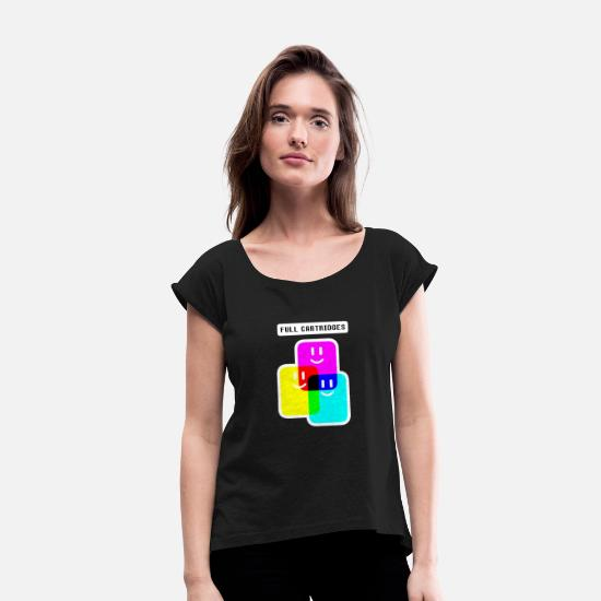 Drawing T-Shirts - CMYK Full Cartridges - Women's Rolled Sleeve T-Shirt black