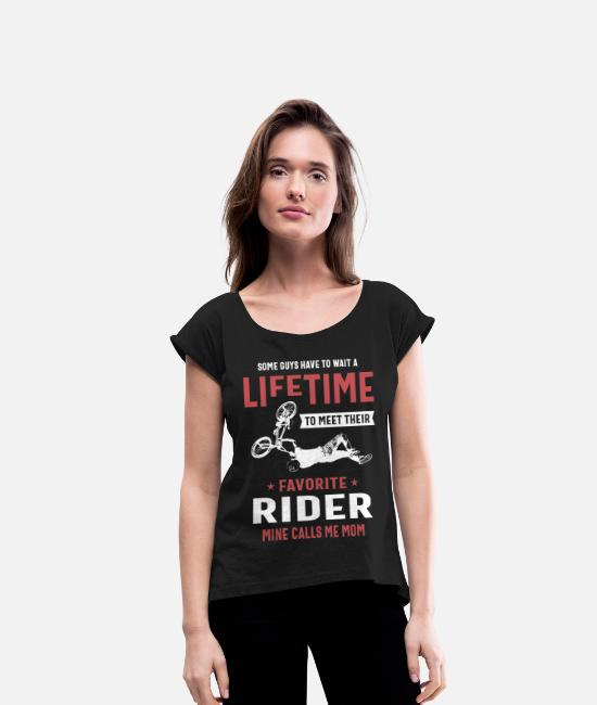 Pilot T-Shirts - Favorite Rider Mine Calls Me Mom - Women's Rolled Sleeve T-Shirt black