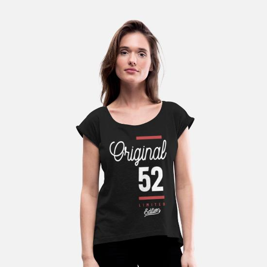 Years T-Shirts - 52 Years Old Birthday Gift - Women's Rolled Sleeve T-Shirt black