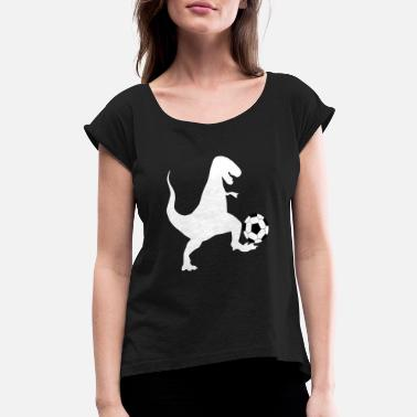 Sporty Dinosaur Soccer Worldcup Gifts - Women's Rolled Sleeve T-Shirt