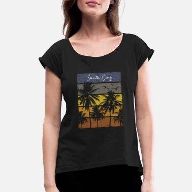 Santa Cruz Beach Retro Santa Cruz Beach Print Vacation Souvenir - Women's Roll Cuff T-Shirt