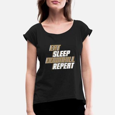 Bicycle Eat Eat Sleep Downhill Repeat bicycle gift quote - Women's Roll Cuff T-Shirt