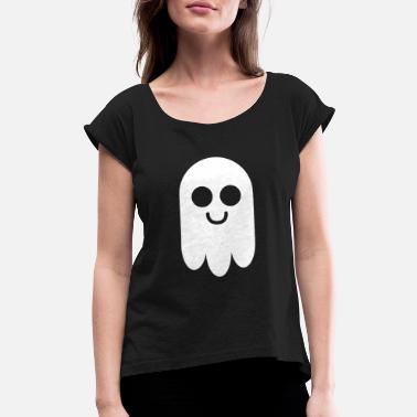 Ghost Ghost Pictogram cute Comic gift halloween - Women's Rolled Sleeve T-Shirt
