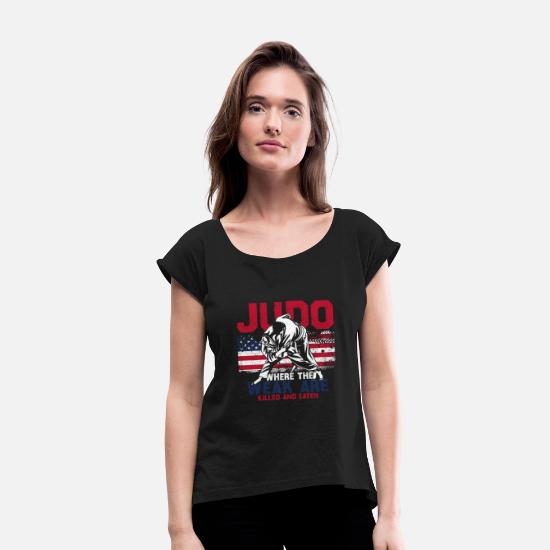 Judo T-Shirts - Judo - Women's Rolled Sleeve T-Shirt black