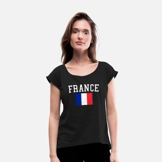 France T-Shirts - France jersey - Women's Rolled Sleeve T-Shirt black