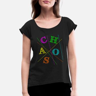 80s Sayings Geek Cool Colorful Neon Stripe 80s Chaos Retro Party - Women's Rolled Sleeve T-Shirt