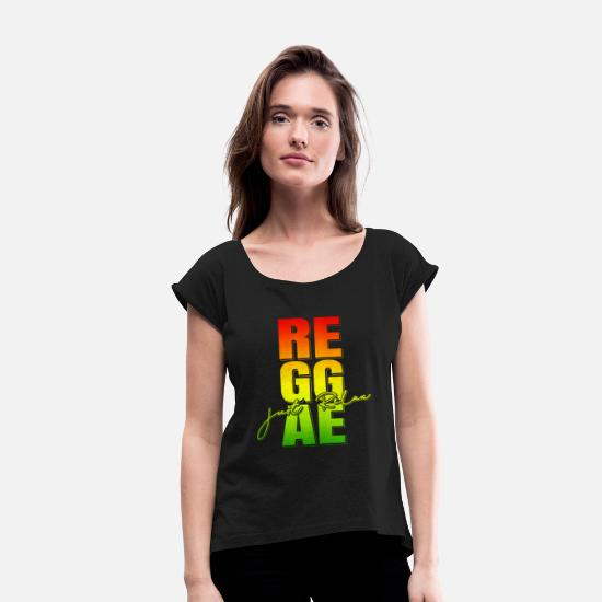 Love T-Shirts - Reggae Jamaican Music Genre - Women's Rolled Sleeve T-Shirt black