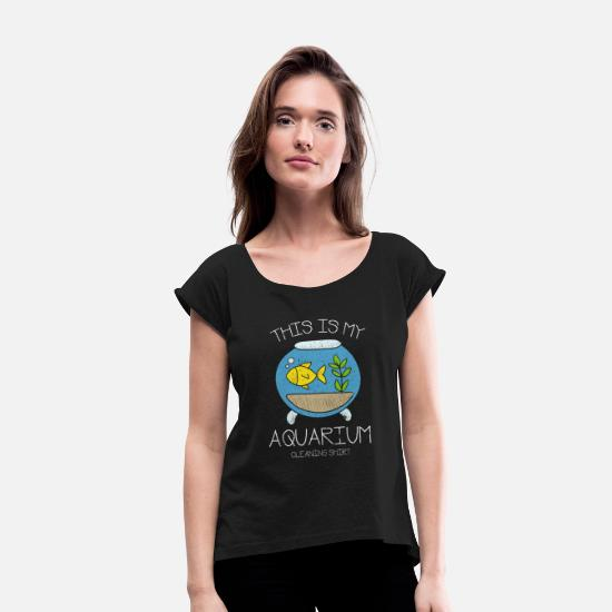 Reef T-Shirts - Aquarium cleaning gift - Women's Rolled Sleeve T-Shirt black