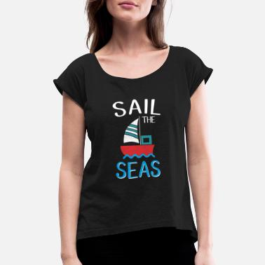 Dinghy Sailing Boat Sailbook Sailing Sailor - Women's Rolled Sleeve T-Shirt