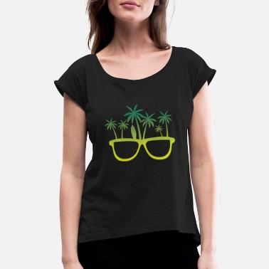 Egypt Vacation Island Palms Beach Sea Flying - Women's Rolled Sleeve T-Shirt