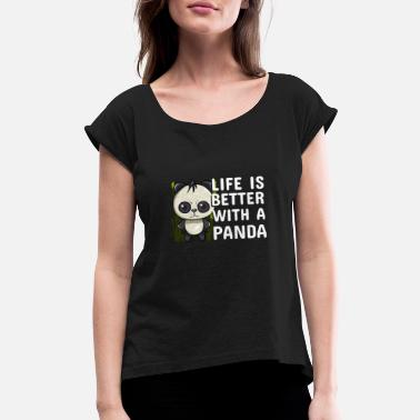 Brown panda Bears Animal rights act Quote funny awesome - Women's Rolled Sleeve T-Shirt