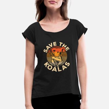 Eucalyptus Save the Koalas | vintage wilderness animal gift - Women's Rolled Sleeve T-Shirt
