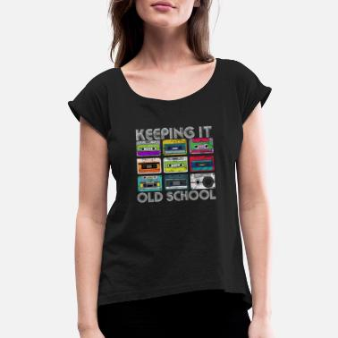 Tape Cassette Tape Mixtape Retro Music 80s and 90s Hip - Women's Rolled Sleeve T-Shirt