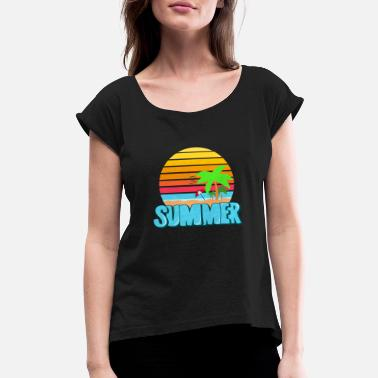 Summer Colors Summer lettering Colorful - Women's Roll Cuff T-Shirt