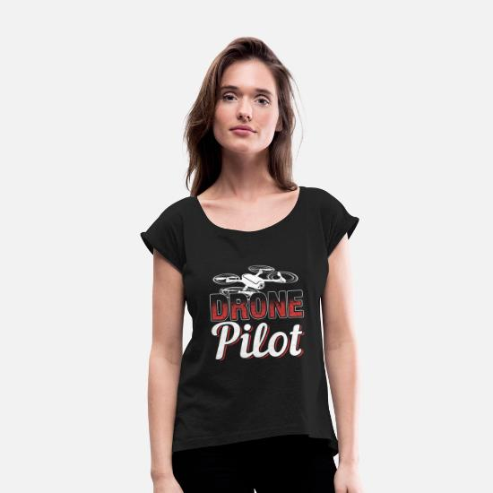 Model T-Shirts - Drone Pilot - Women's Rolled Sleeve T-Shirt black