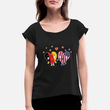 America German and American Flag USA Heart Lovers Gift - Women's Roll Cuff T-Shirt