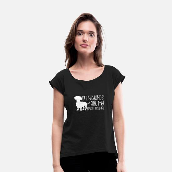 Tee T-Shirts - Dachshunds Are My Spirit Animal - Women's Rolled Sleeve T-Shirt black