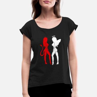 Ángel Awesome Gemini Horoscope Red Devil White Angel - Women's Rolled Sleeve T-Shirt