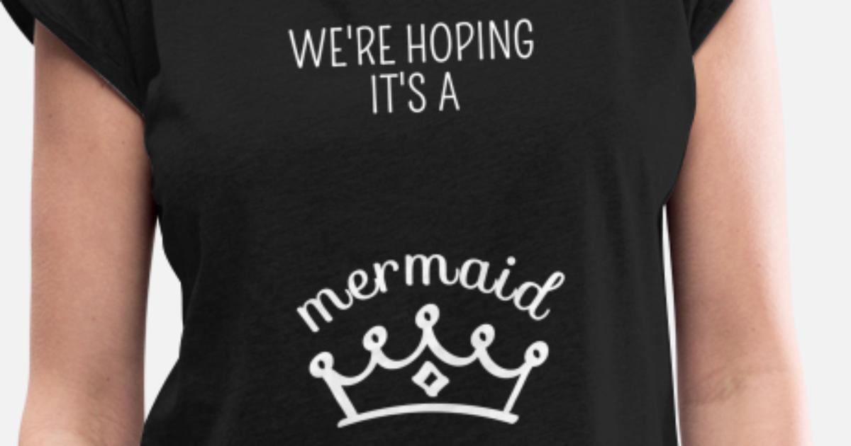 a3979cf2aa107 Mermaid Pregnant Pregnancy Gender Reveal Baby Women's Rolled Sleeve T-Shirt  | Spreadshirt