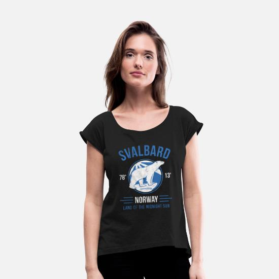 Arctic T-Shirts - Svalbard Polar Bear - Midnight Sun in Norway - Women's Rolled Sleeve T-Shirt black
