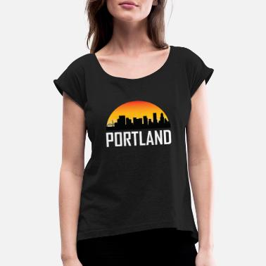 Skyline Silhouette Sunset Skyline Silhouette of Portland OR - Women's Roll Cuff T-Shirt