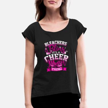 Football Mom Bling Cheer mom Cheerleading Cheerleader Gift Present - Women's Roll Cuff T-Shirt