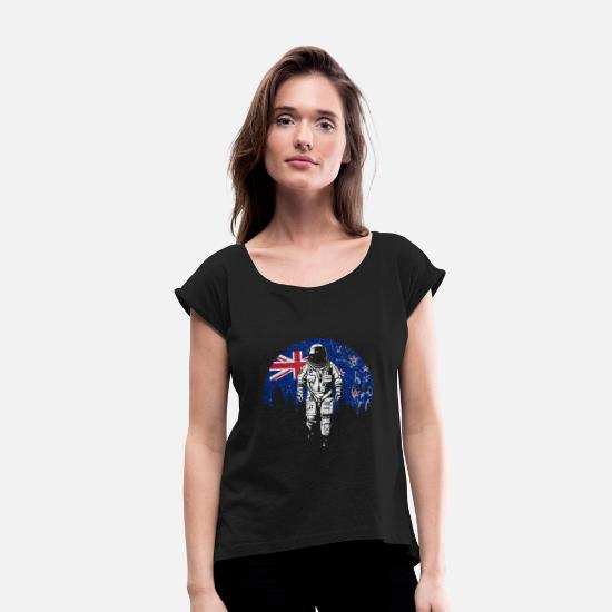 Astronaut T-Shirts - New Zealand - Women's Rolled Sleeve T-Shirt black