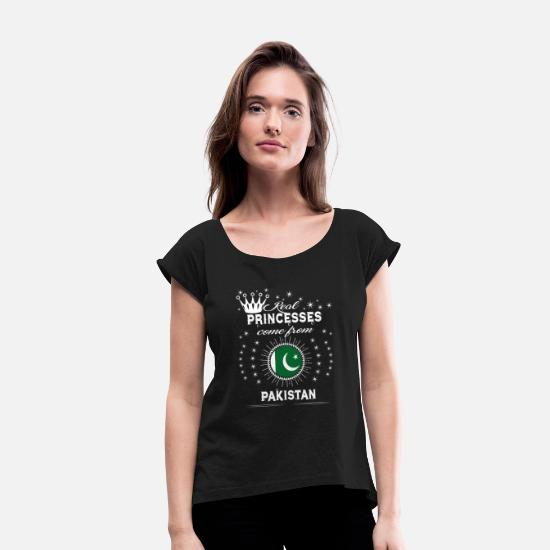 Pakistan T-Shirts - queen love princesses PAKISTAN - Women's Rolled Sleeve T-Shirt black