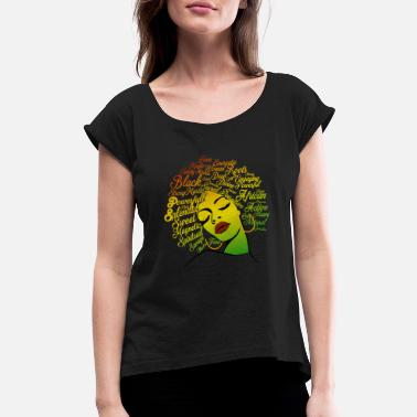 Rasta Black Magic woman (Rasta Color) - Women's Rolled Sleeve T-Shirt