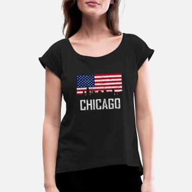 Chicago American Flag Chicago Illinois Skyline American Flag Distressed - Women's Roll Cuff T-Shirt